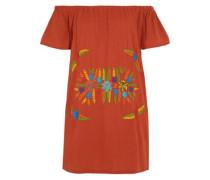 Off-the-shoulder embroidered crinkled-cotton mini dress