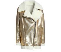 Metallic faux shearling biker jacket