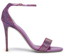 Swarovski Crystal-embellished Satin Sandals Violet