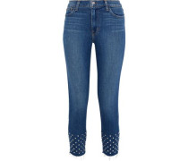 Angelique Cropped Studded Mid-rise Slim-leg Jeans Mid Denim  4