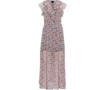 Ruffled floral-print georgette midi dress