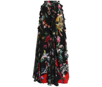 Ruffle-trimmed floral-print silk crepe de chine maxi skirt