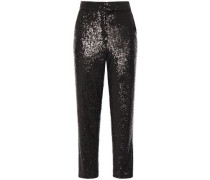 Cropped Sequined Tulle Straight-leg Pants Black