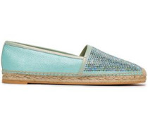 Embellished Satin-crepe And Snake-effect Leather Espadrilles Turquoise