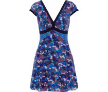 Avril Printed Silk-georgette Mini Dress Blue