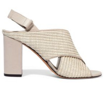 Faine leather-trimmed woven jute sandals