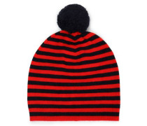 Pompom-embellished Striped Wool And Cashmere-blend Beanie Red Size ONESIZE