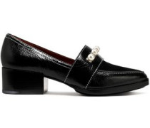 Quinn suede-paneled faux pearl-embellished textured-leather loafers