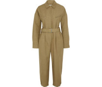 Belted Cropped Linen And Cotton-blend Canvas Jumpsuit Sand