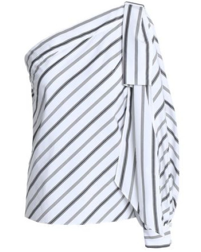 Nina one-shoulder striped cotton-poplin top