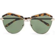 Cat-eye gold-tone and tortoiseshell acetate sunglasses