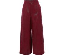 Costello Metallic Silk-blend Jacquard Wide-leg Pants Claret
