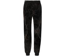 Woman Embellished Printed Velvet Track Pants Black