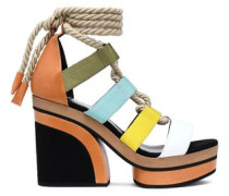 Lace-up color-block leather and canvas platform sandals