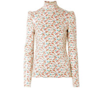 Sequined Floral-print Voile Blouse Ecru