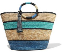 Tasseled Color-block Woven Straw Tote Blue Size --