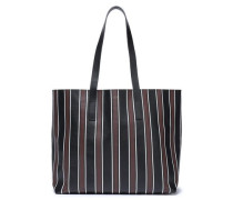 Woman Striped Leather Tote Chocolate