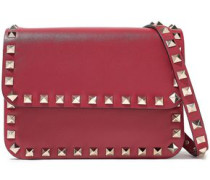 Rockstud Leather Shoulder Bag Red Size --