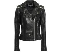 Printed Canvas-paneled Leather Biker Jacket Black