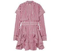 Layered Striped Cotton-poplin Mini Shirt Dress Claret