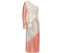 One-shoulder sequined silk midi dress