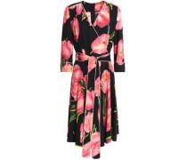 Floral-print Crepe Wrap Dress Black