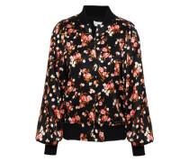 Floral-print Stretch-silk Bomber Jacket Black