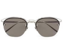Acetate and silver-tone tinted square-frame sunglasses
