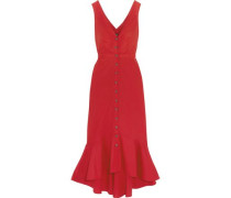 Cutout Fluted Stretch-cotton Poplin Midi Dress Red