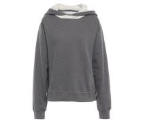 Woman Mélange Cotton-fleece Hooded Sweatshirt Anthracite