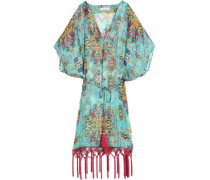 Fringe-trimmed Printed Silk-chiffon Coverup Light Green Size 14