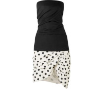 La Robe Gitan Strapless Cotton-piqué And Canvas Mini Dress Black