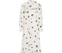 Ruffled Printed Silk Crepe De Chine Midi Dress Ecru