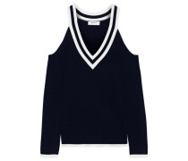 Sheffield Cold-shoulder Striped Knitted Sweater Midnight Blue