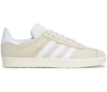 Gazelle Cracked-leather Sneakers Ivory