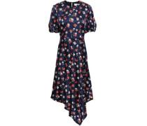 Asymmetric Floral-print Silk-blend Satin Midi Dress Navy