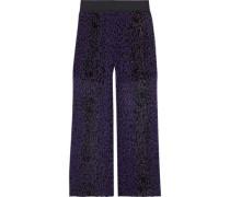 Leopard-print Plissé Silk-georgette Wide-leg Pants Purple