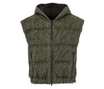 Tinsel-embellished cotton-blend shell hooded vest