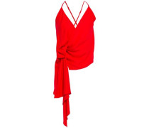 Woman Wrap-effect Washed-crepe Camisole Red