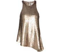 Dylan Sequined Woven Top Bronze