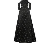Cecelia Off-the-shoulder Embellished Duchesse-satin Gown Black