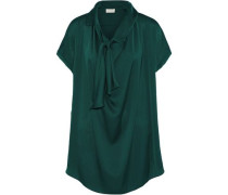 Pussy-bow Chiffon-trimmed Crepe De Chine Blouse Emerald