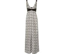 Printed silk-blend twill maxi dress