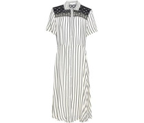 Lace-trimmed Striped Woven Midi Shirt Dress Off-white