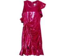 Ruffle-trimmed Ruched Metallic Velvet Mini Dress Bright Pink Size 12