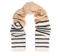 Striped two-tone intarsia-knit scarf