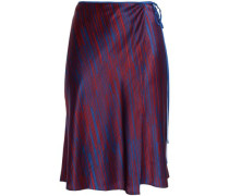 Striped silk-satin wrap skirt