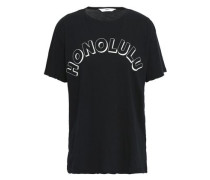 Printed Cotton-jersey T-shirt Black Size 0