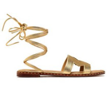 Fio Cutout Metallic Leather Sandals Gold