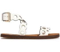 Laser-cut faux leather sandals